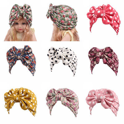 Baby Infant Girl  Floral Comfy Bowknot Turban Hospital Cap Cotton Beanie Hat