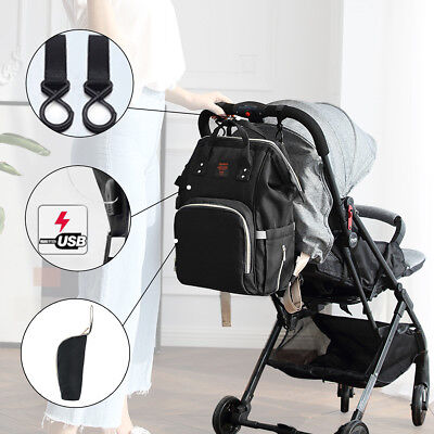 USB-Charge Large Mammy Backpack Baby Diaper Nappy Multifunctional Bag Changing