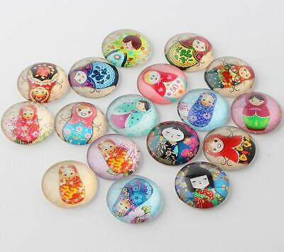 10 ROUND RUSSIAN DOLL PRINTED CLEAR GLASS DOMED CABOCHONS 20mm CAB7