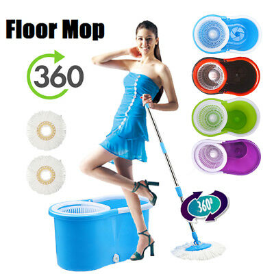 360° Spin Spining Mop Bucket Floor Cleaner Cleaning With 2 Microfiber Mop Head