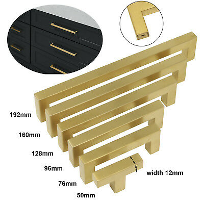 Kitchen Cabinet Drawer Handle Brushed Brass Square Knob Stainless Steel 50-192mm