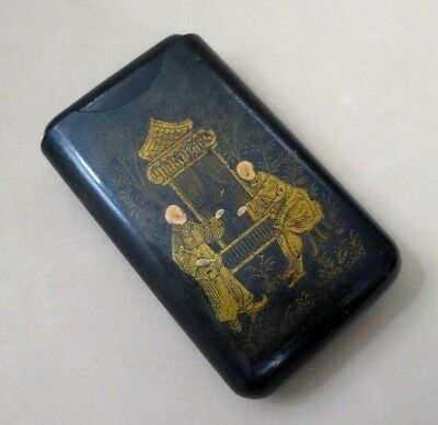 Antique Chinese Gilt Lacquered Wood Cigar / Card Case