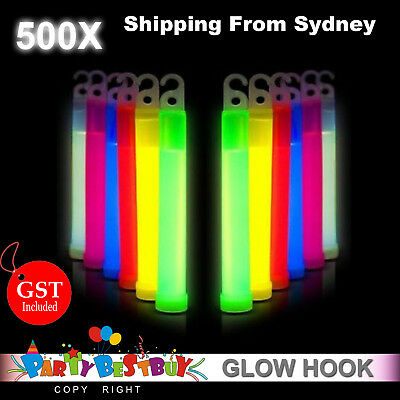 500X Glow Sticks 6 Inches Hook Glowsticks Lanyard Poi Party Glow in the dark Dec