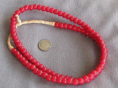 """25"""" Str Vintage African Glass Trade Beads, Red White Hearts Large 7x9mm"""