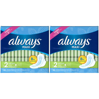 2 Packs Always Maxi Long Super Flexi-Wings Pads 42 count Each