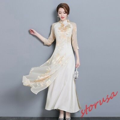 Womens Chinese Style A line Floral cheongsam Ballgown Dress 3/4 Sleeve Slim Fit