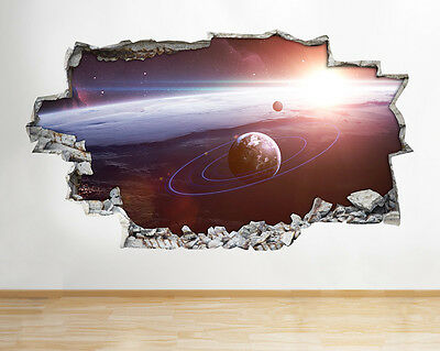 Wall Stickers Nasa Space Satellite Moon Earth Planets Decal Poster 3D Art B005
