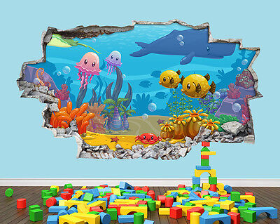 Aquarium Fish Tank Cute Nursery Smashed Vinyl Wall Decal 3D Art Stickers Room
