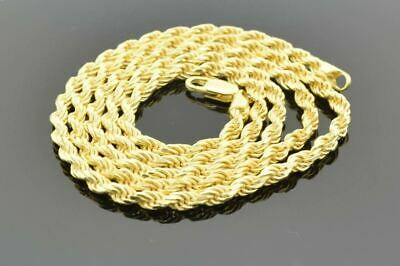 14K Yellow Gold Plated Sterling Silver Hip Hop 1.5mm - 3mm Rope Chain Necklace