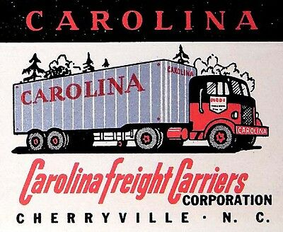 MINT 1960s Carolina Freight Carriers Matchbook Cover Matchcover - Cherryville NC