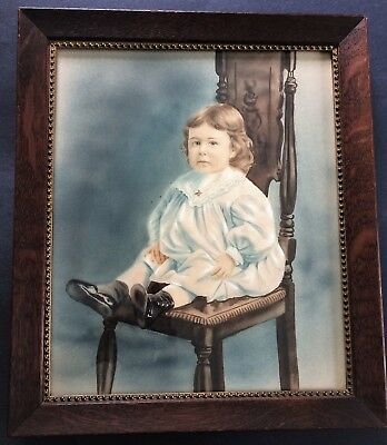 Fine Antique Early 1900's Original Watercolor Painting Portrait of Young Child