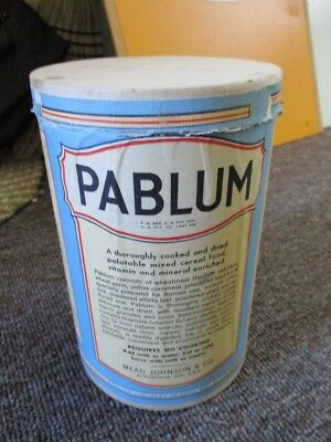 "1940s ""PABLUM""CHILDREN'S CEREAL FOOD CARDBOARD CANISTER CONTAINER"