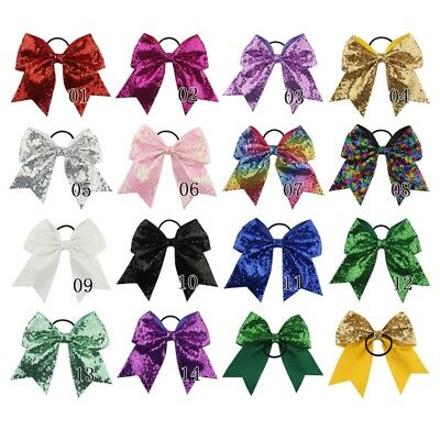 "8"" Large Sequin Cheer Bows Elastic Bands Boutique Girl Ribbon Cheer Bow 21 Color"