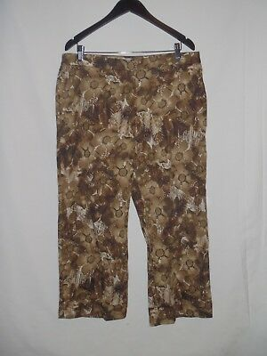 Chicos Womens Brown White Floral Capri Cropped Pants Stretch Size 3 16-18