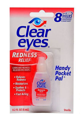 6 Pack Box Clear Eyes Drops Redness Relief 0.2 Oz.6 Ml Exp: 2020 One Day Ship