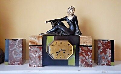 Antique Art Deco French Lady Figural Marble 3 Pieces Garniture Mantel Clock
