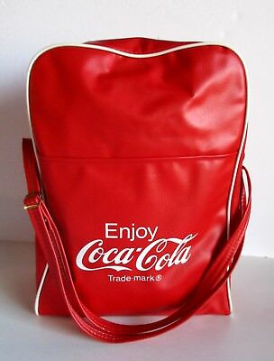 "Vintage Coca Cola Tote Shoulder Bag Lunch PVC Vinyl Red Bottom Name Tag 14"" Zip"