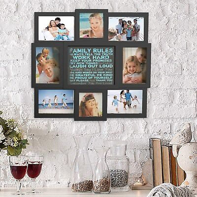 Collage Picture Frame Holds 8 Images Family Rules Wall Hanging Multiple Photos