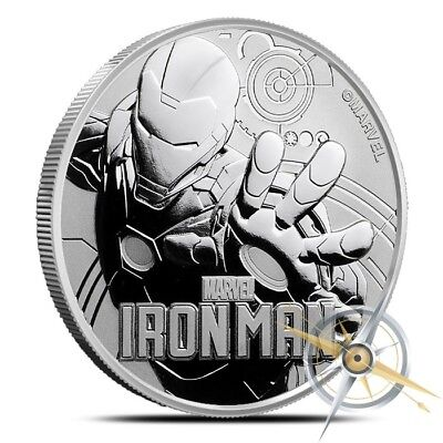 2018 Tuvalu Iron Man 1 oz .9999 Fine Silver Marvel Series $1 Coin - Gem BU