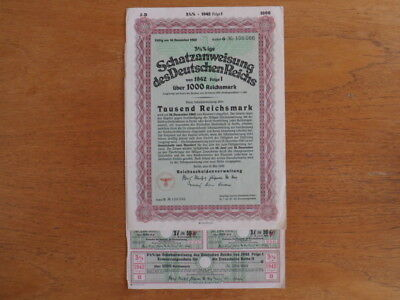 1942 Nazi German Treasury Bond-1000 Reichsmark Bond-Uncancelled with Coupons