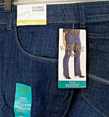 Womens NWT Riders by Lee MidRise Bootcut Jeans *Plus Size* Deep Dyed Flex Waist
