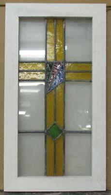 "MID SIZED OLD ENGLISH LEADED STAINED GLASS WINDOW Colorburst Cross 13"" x 24"""