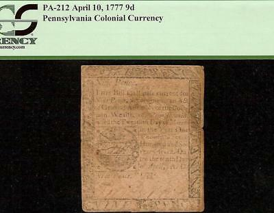 April 10, 1777 Pennsylvania Colonial Currency Note Very Old Paper Money Pcgs