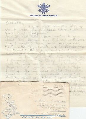 Stamp Australian Force Vietnam War cover & 3 page letter Sapper Boris Bavcevich