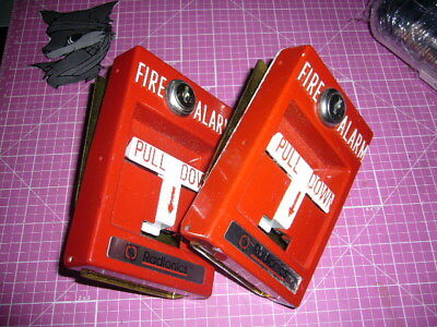 Fire Alarm Pull station units, Lot of 2, Used, no keys.