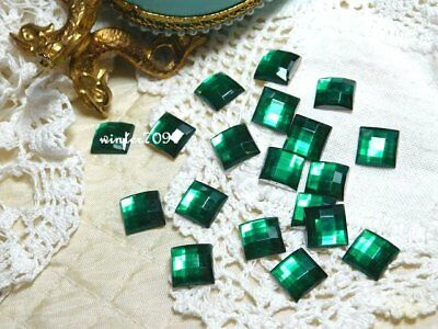 (258)*costume Makers Sellout*flat Back Rhinestone*green *square*new!*