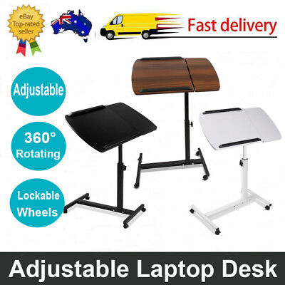 Small Desk Rotating Mobile Laptop Desk Adjustable Height Tray Computer Table AU