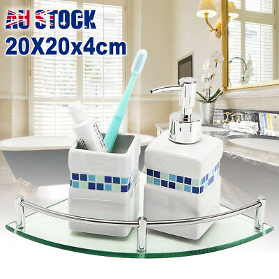 20cm Bathroom Glass Triangular Wall Mount Corner Shelf Rack Storage Holder