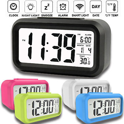 Digital LED Display Backlight Table Alarm Clock Snooze Thermometer Calendar