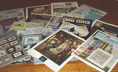 BULK LOT OF 16 Cross Stitch Patterns Charts FLOWERS baby SAMPLERS christmas GIFT