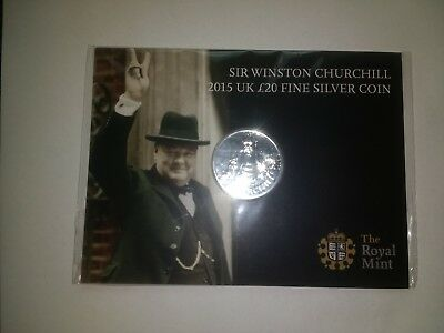 2015 Royal Mint £20 Silver Sir Winston Churchill - Mint Sealed
