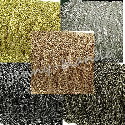 1-100M Gold/Silver/Bronze Plated Cable Open Link Iron Metal Chain Findings DIY