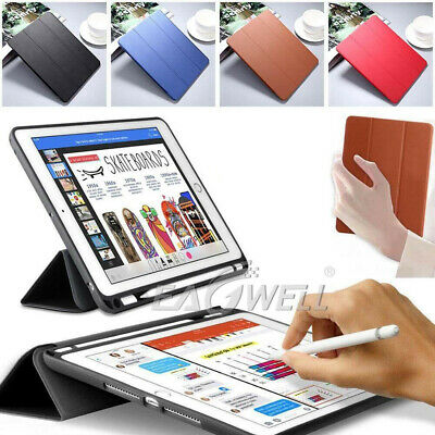 "AU For iPad 9.7"" 2018 Pro 10.5"" 12.9 Slim Leather Smart Cover Case Pencil Holder"
