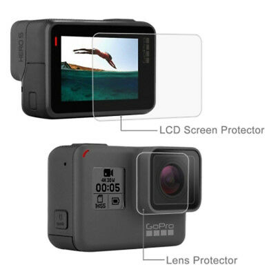 New Lens HD Screen Protector + LCD Dispaly Tempered Glass Film for GoPro HERO6 5