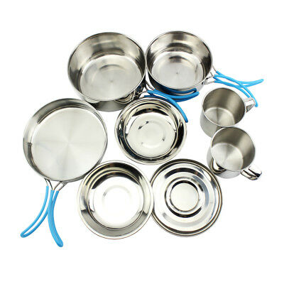 11 x Stainless Camping Cookware Mess Kit Backpacking Camp Gear Outdoor Hiking AU