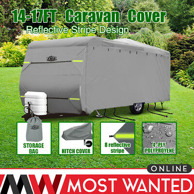 Premium Caravan Cover 14-17FT 4 Ply Breathable Waterproof Hitch Cover Heavy Duty