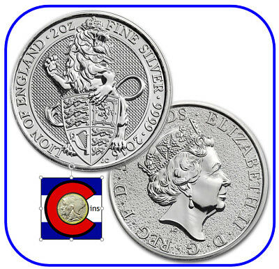 2016 Queen's Beast Lion of England 2 oz Silver UK Coin in direct fit capsule