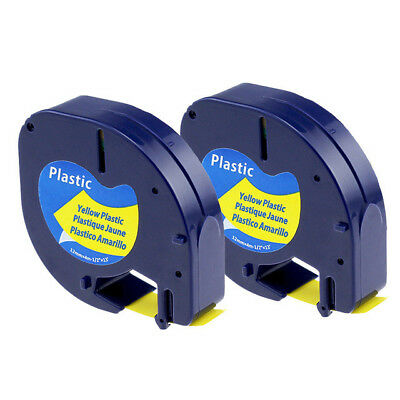 2 PK Compatible for DYMO LetraTag Refills Plastick Yellow Tape 91332 12mm 4m