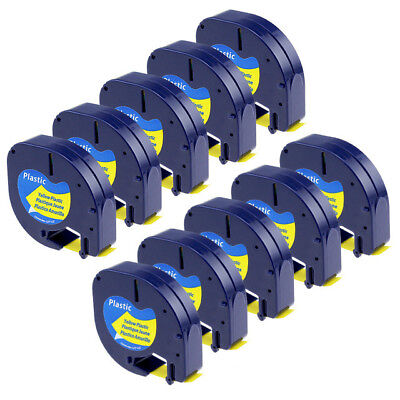 10 PK Compatible for DYMO LetraTag Refills Plastick Yellow Tape 91332 12mm 4m