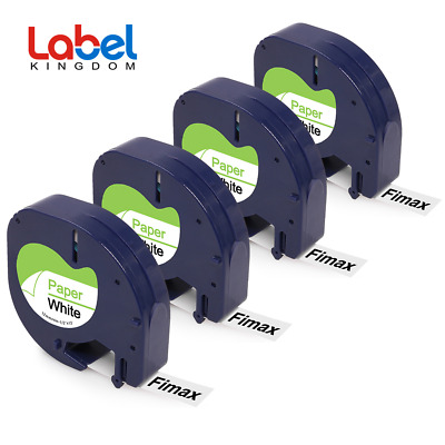 Compatible for DYMO Letratag 91330 S0721510 White Paper 12mm Label Tape 4PK