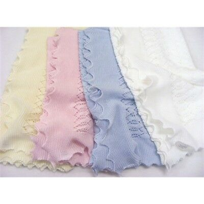 UK Made Beautiful Baby Girls Boys Spanish Style Romany Knitted Shawl Blanket