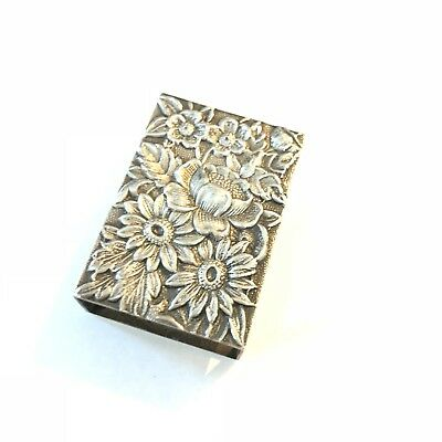 S Kirk & Son Repousse Sterling Silver Match Safe Box Holder 90F
