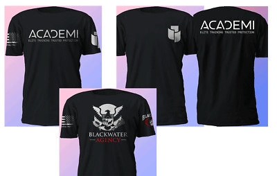 e5d68ec91 New Sleeves 2 Sides ACADEMI BLACKWATER Military Private Army Black T-Shirt  S-5XL