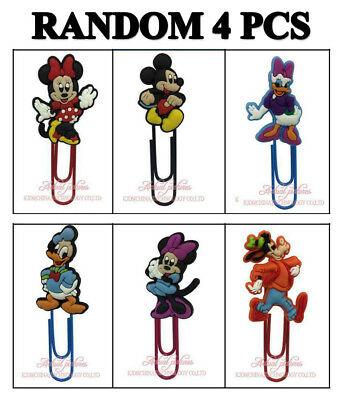 4pcs 60mm PVC Paper Clip Bookmark Mickey Minnie Mouse Kid Party Bag Fillers Gift