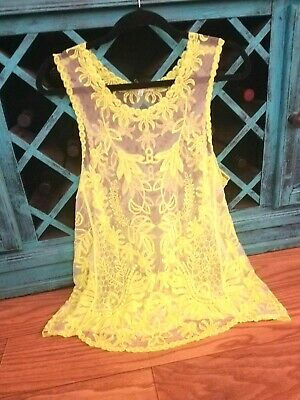 Lime Sheer Skin Tone Illusion Lace Relaxed Dress Blouse Crochet Lace Tank Top