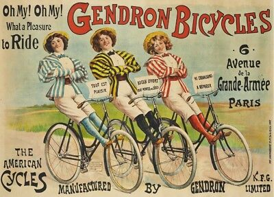 GENDRON BICYCLE, France, 1898, 250gsm A3 Belle Epoque Cycling Poster
